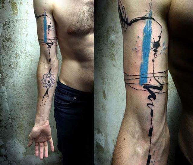 Abstract tattoo on hand biceps amazing  @lina_tattoo_artist