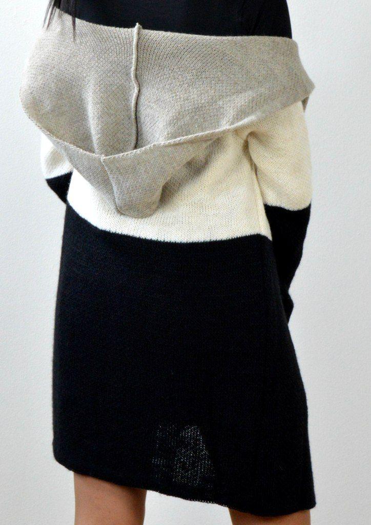 Ζακέτα Πλεκτή με Κουκούλα - ΜΑΥΡΟ/ΜΠΕΖ | shop online: www.musitsa.com
