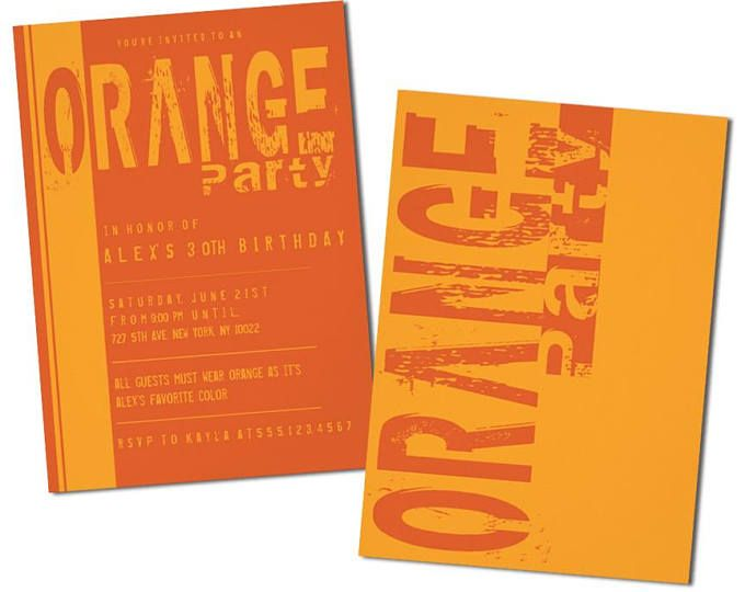 Orange Birthday Party Invitations