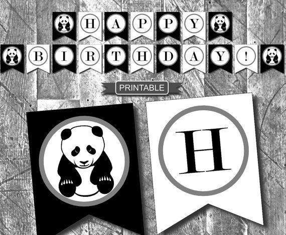 ♥DIY Panda Birthday Party Decorations Banner Digital Printable-Happy Birthday♥  INSTANT DOWNLOAD This panda banner will really stand out for your