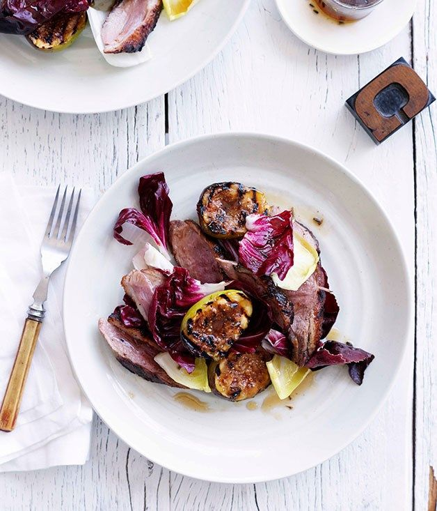 Australian Gourmet Traveller recipe for duck breast with figs and burnt honey and lavender sauce.