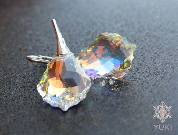 Sterling silver earrings with Swarovski rainbow by YUKIJewellery, €25.50