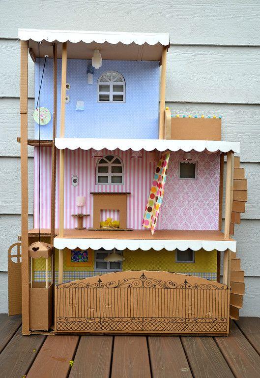 Earth day diy cardboard barbie house