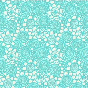 Makower - Lime Twist - Sunflower Turquoise - cotton fabric