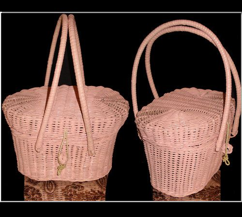 Vintage 1950s purse handbag pink wicker mad man rockabilly swing bombshell pinup garden party dress designer mid century - vintagediva60