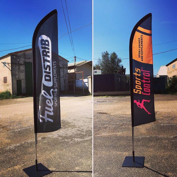 Livraison de #drapeaux pour @fueldistrib kits complets platines  mâts  voiles impression #quadri. #elcactuscom #elcactus #beachflags #logo #impression #numerique #publicité #communication #visuelle