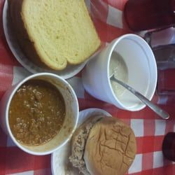 Photo of Bill's Bar-B-Que - Hull, GA, United States. Chicken mull, potatoe bread, pork bbq sandwich, and hash (Andrew Zimmern BBQ trail)