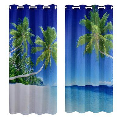 Crover Palm Beach Digital Printing Curtain Panels Panel Curtains