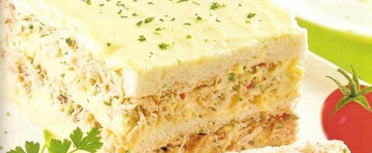 Receita de Bolo salgado com pão de forma e frango #torta #receitas