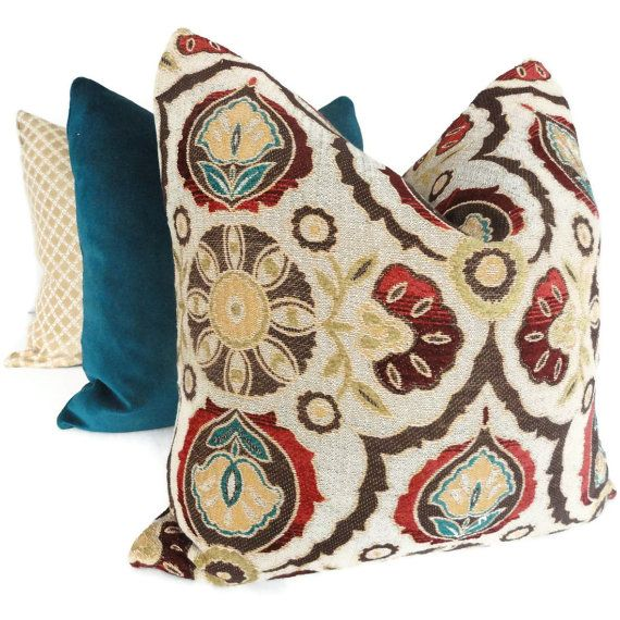Brown, Turquoise, Red Suzani Decorative Pillow Cover 18x18, 20x20, 22x22 or Lumbar Pillow -- Accent pillow, Throw pillow via Etsy
