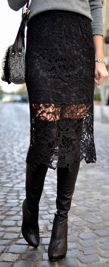 The sheer skirt trend is so in vogue, but if you are wary of showing too much skin, pair with tall boots.