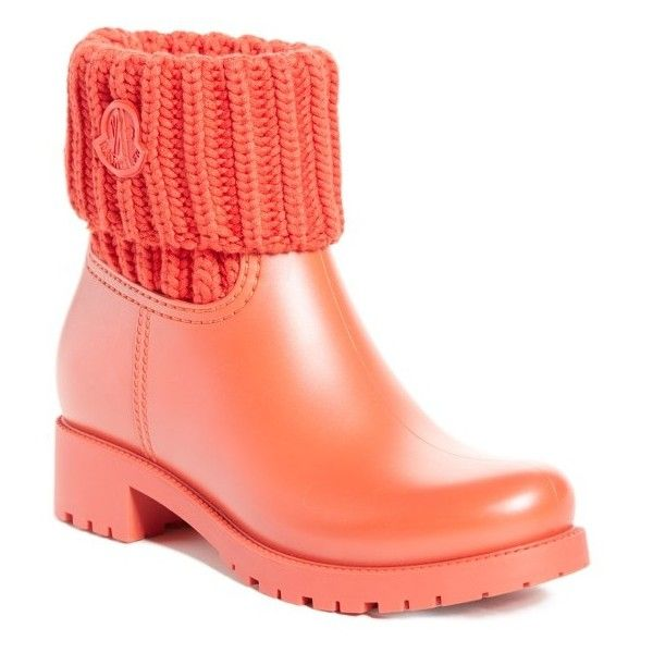 Women's Moncler 'Ginette' Knit Cuff Leather Rain Boot ($360) ❤ liked on Polyvore featuring shoes, boots, red, red rubber boots, rain boots, short leather boots, knit cuff boots and knee high leather boots