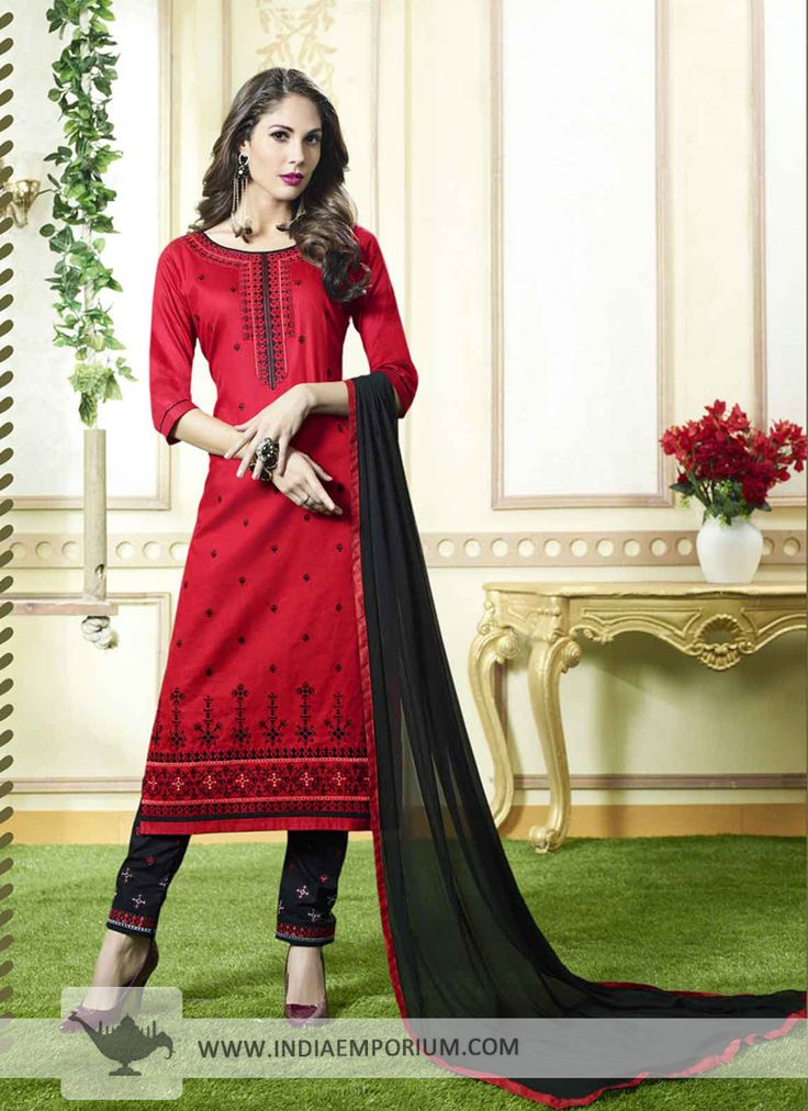 Alluring Red & Black Cotton Pant Suit