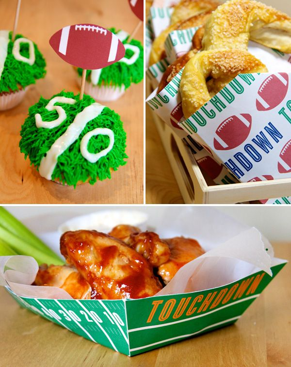 FOOTBALL PARTY - Free Printables:  The collection includes: Beverage Labels, Cupcake Toppers, Pretzel Bags, Popcorn Boxes, and Snack Baskets