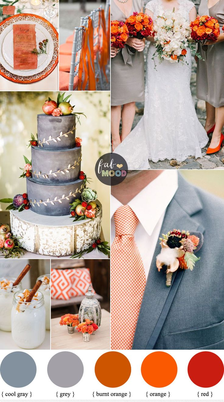 The best November wedding colours are oranges, browns, tans, and similar warm-toned colours but we paired grey just to balance between warm and cool wedding