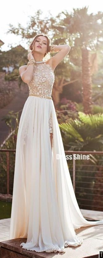 Newest High Neck Elegant Prom dress 2015 Long beadings Chiffon Evening gown
