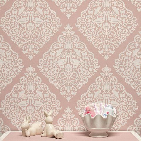 Love Birds Lace Damask Wall Stencil Pattern with Rose Pink Color Hue - Royal Design Studio