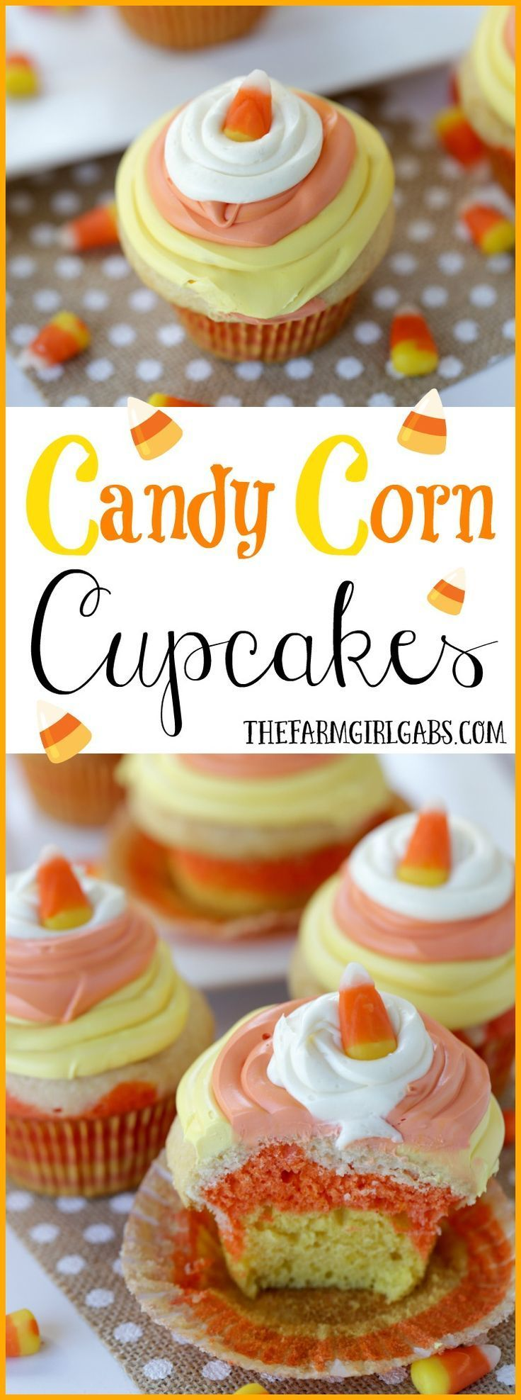 These colorful and delicious Candy Corn Cupcakes are the perfect fall treats. This simple cupcake recipe is perfect for school parties, snack-time, lunch-time, anytime!