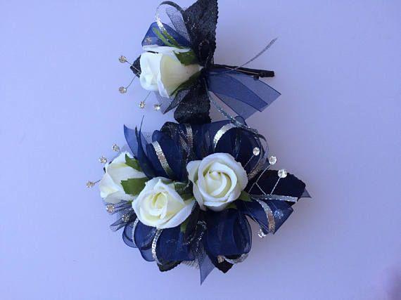 Navy Blue Silver White Rose Corsage Set