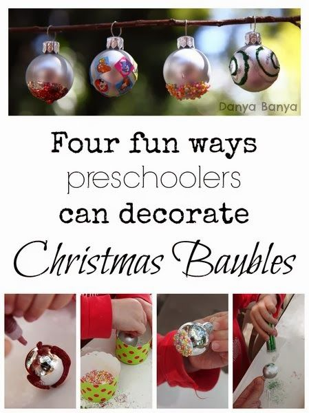 Four fun ways that kids can decorate Christmas baubles - they make such pretty ornaments for your tree! From Danya Banya