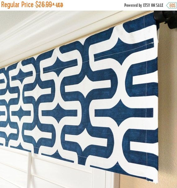 "SALE Dark Blue Valance.Navy Window Valance.Nautical Valance.Modern Valance.Window Treatment Valance.Fabric Choice.52"" x 15"".Any Size"