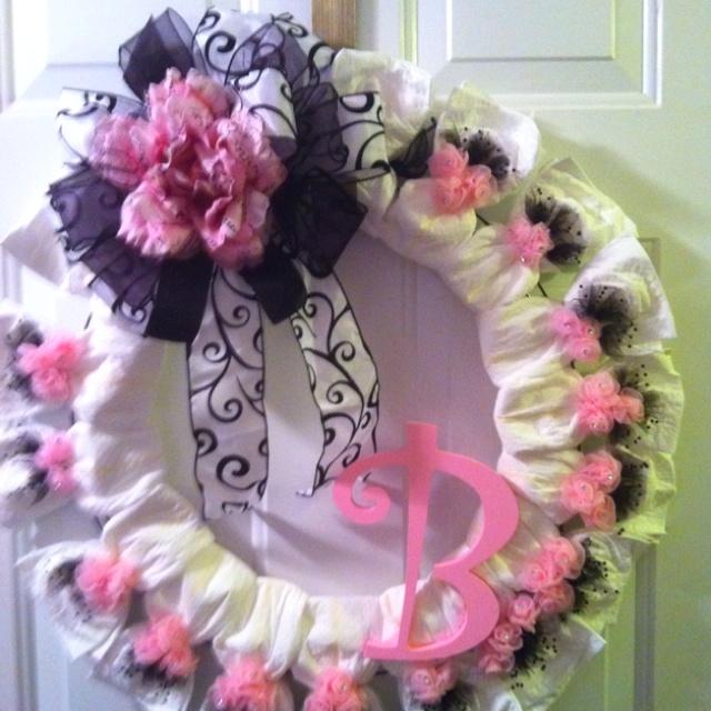 Baby Diaper Cake Wreath