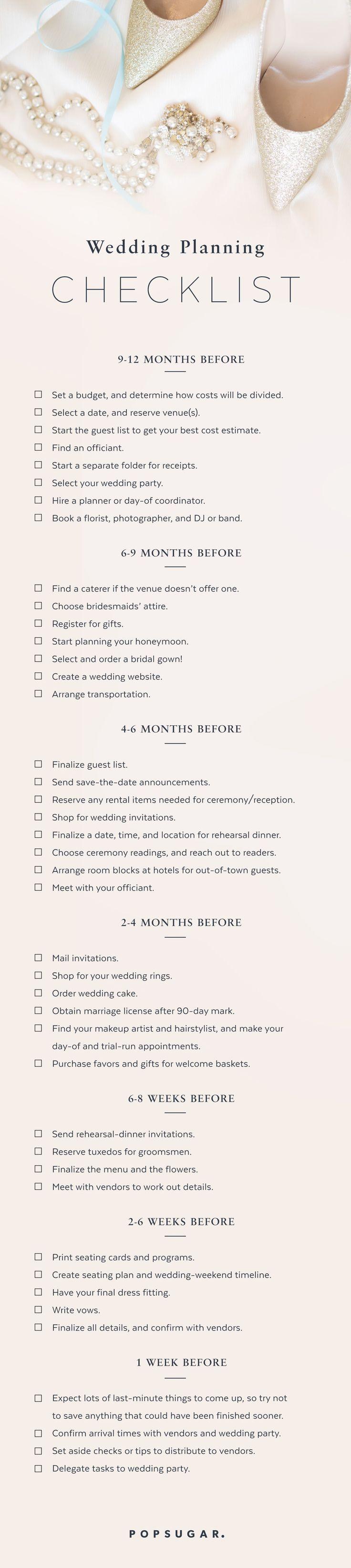 Ein Zeitplan für die Hochzeit. Nützlich, wenn man weiss, was man was machen sollte.