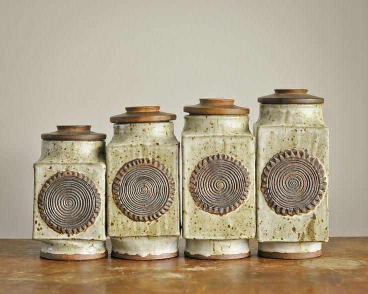 Amazing Vintage Kitchen Canister Set Handmade Studio Pottery Stoneware Sunburst Boho 70s by drowsySwords on Etsy