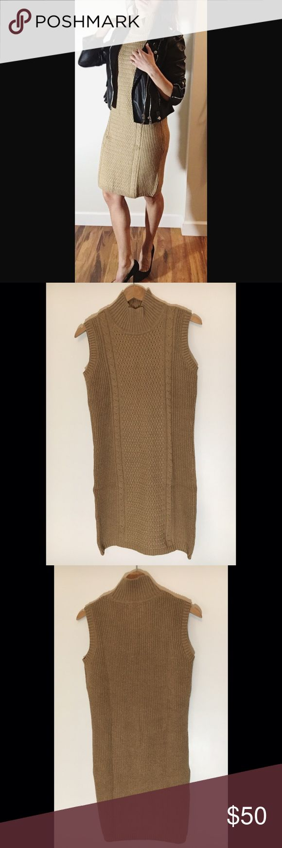NWT Banana Republic Knit Turtleneck Dress -Banana Republic Knit Turtleneck Dress  - Camel colored knot dress with Turtleneck and no sleeves   -75% cotton 21% acrylic 4% fiber  - NEW WITH TAGS Banana Republic Dresses Mini