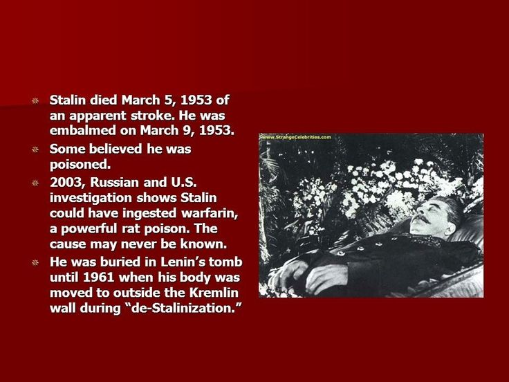 Warfarin a rat poison. Lavrenti Beria put warfarin a rat killer & blood thinner in Stalin's wine to kill Stalin & stop him from conducting another purge of his inner circle. Stalin's cerebral hemorrhage symptoms w/consistent w/warfarin poisoning &evidence of poison in the stomach was cut from the official autopsy report of Stalin's death. Beria bragged about saving all of the inner circle's lives.