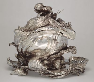 A Silver Tureen, Stand and Cover designed by Juste-Aurèle Meissonnier, executed by Pierre-François Bonnestrenne and Henry Adnet, Paris, 1735-1740