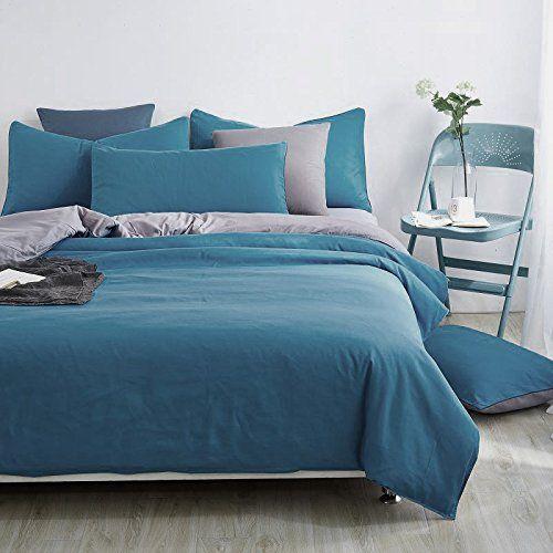 AnciTac 3 Piece Queen Duvet Cover Set Royal Blue Duvet Cover and Pillow Shams Bedding Set, 100% Soft and Durable Cotton