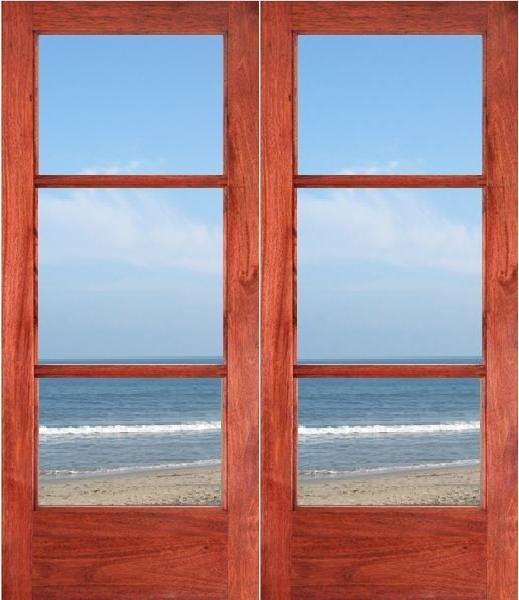 Mahogany 3Lite Double Door w/ Dual Tempered Low E Clear Glass (68ft) 519 x 600