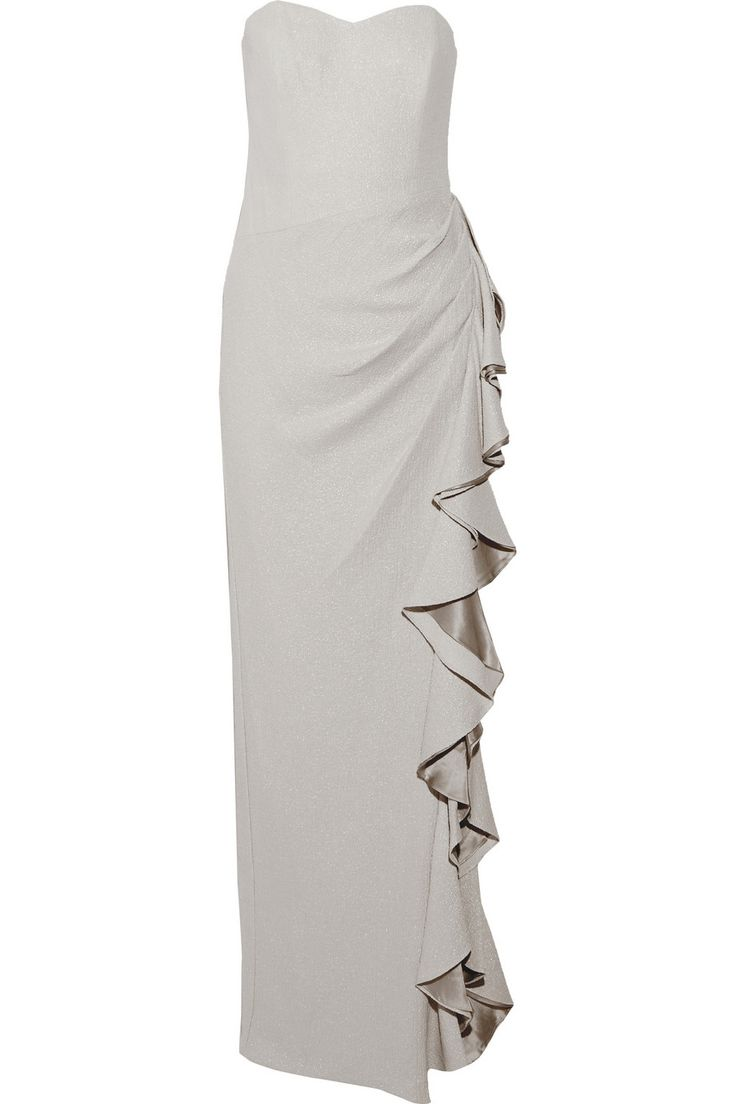 BADGLEY MISCHKA Ruffle-Trimmed Metallic Crepe Gown. #badgleymischka #cloth #gown