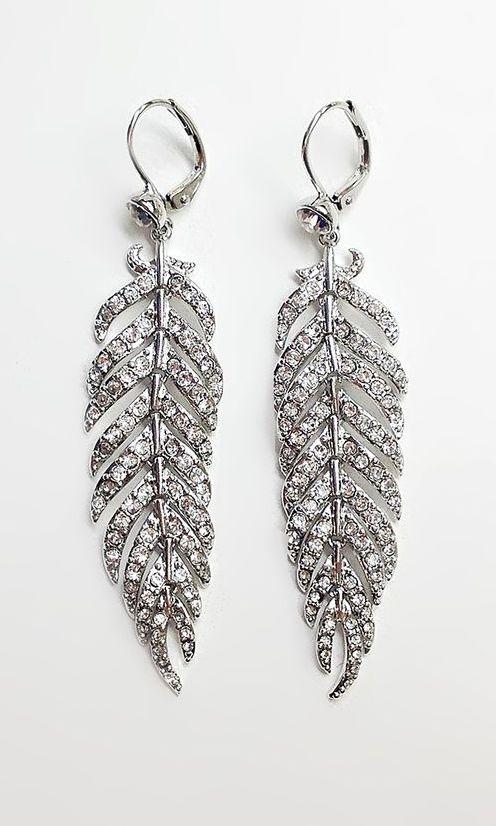 Crystal & Silver Feather Drop Earrings