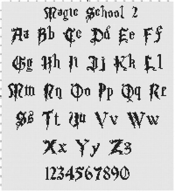 Magische Schrift Sammlung Harry Potter Kreuzstich Muster Cross Stitch Fonts Cross Stitch Letters Cross Stitch Art
