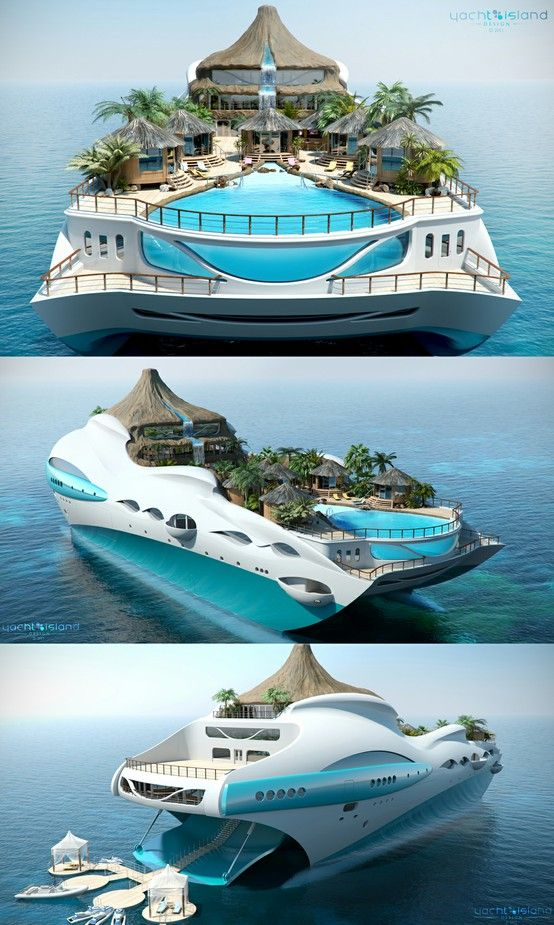 This is the next super-yacht set to hit the world's oceans - which comes complete with its own functioning volcano and floating tropical islands.    The vessel - dubbed the 'Tropical island Paradise' - has been designed by British boat builders Yacht Island Design, from Derby, Derbys - some 90 miles from the sea.