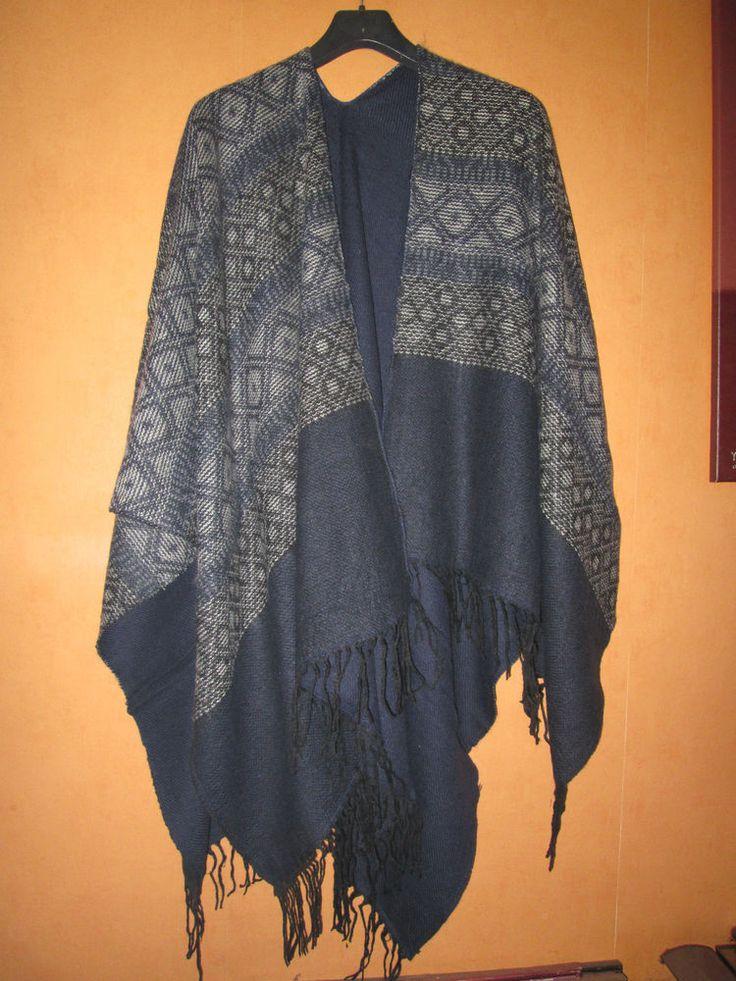 1 Ethno Poncho Cape Umhang Tuch Style Vintage Hippie Goa Kleidung Mexico Retro 1