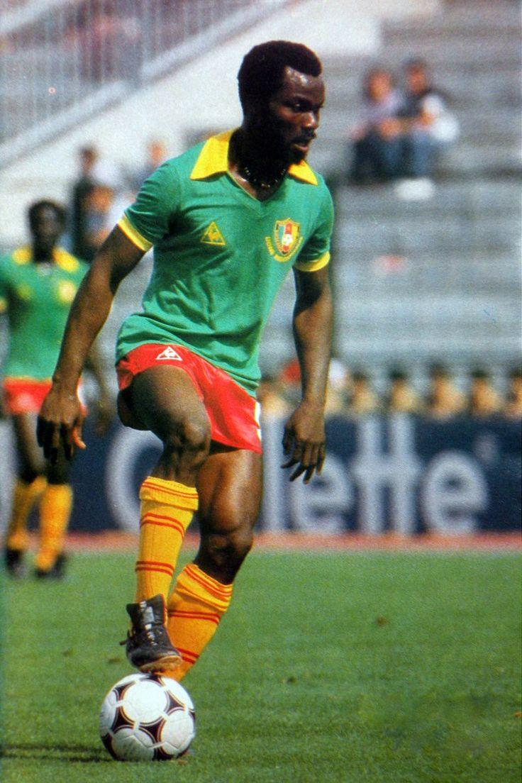 Roger Milla (Cameroon, 1973–1994, 102 caps, 28 goals), 1982 FIFA World Cup Spain.