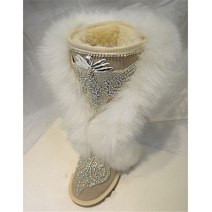 White Fur Snow Boots 2017 New Design Rhinestone Women Boots Plush Casual Shoes Woman Luxury Dress Shoes Winter Boots Sexy Botas
