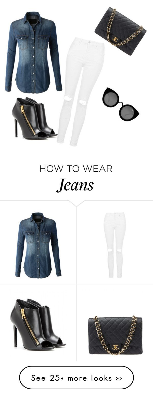 """White Jeans All Year Long!"" by citystyle412 on Polyvore featuring Topshop, Tom Ford, LE3NO, Chanel and Quay"
