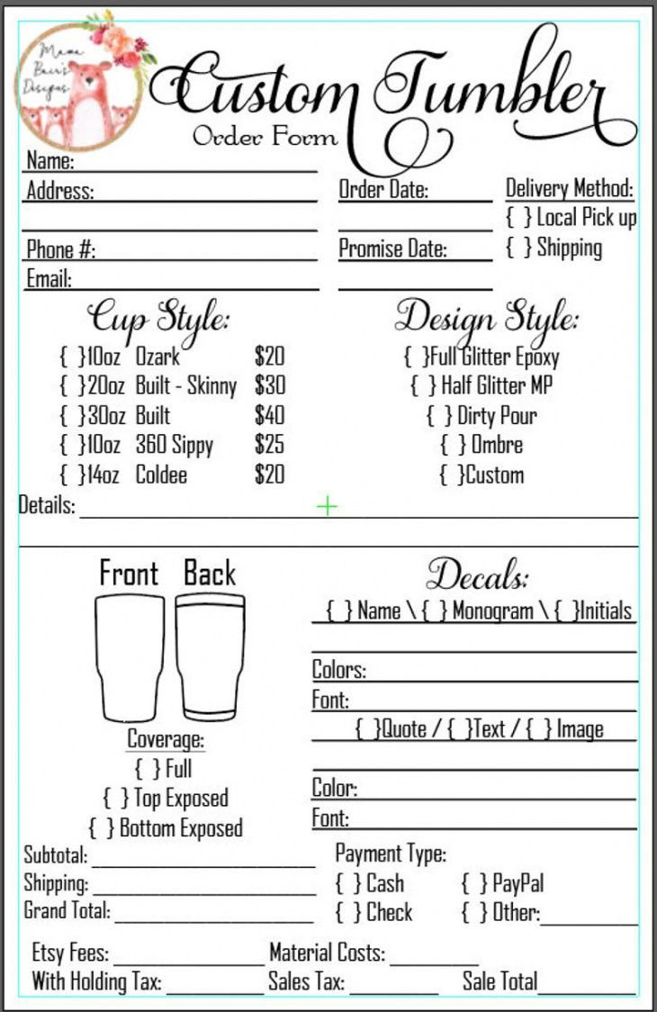 Explore Our Image Of Monogram Order Form Template For Free Order Form Template Order Form Templates