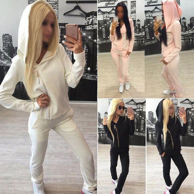 Women 2Pcs Tracksuit Hoodies Sweatshirt Pants Set Sport Wear Casual Gym Suit