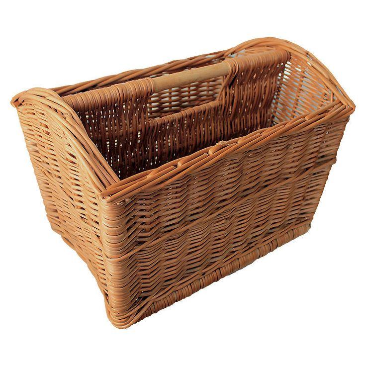 Vintage Wicker Magazine Newspaper Holder Rack Stand Storage Basket 41x28x29cm