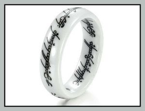 OPK Jewelry Ceramic Ring The Lord Of The Rings Ceramic Finger Band These Womans Ceramic Wedding Rings have been made by OPK  and does not contain nickel. A  FREE brand jewellery box is included. http://theceramicchefknives.com/womans-ceramic-wedding-rings/ OPK Jewelry Ceramic Ring The Lord Of The Rings Ceramic