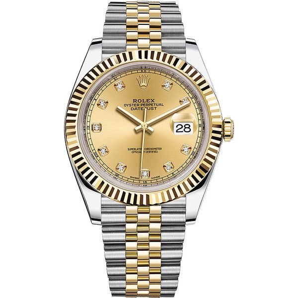 Rolex Datejust 41mm Steel and Yellow Gold 126333 Champagne Diamond... ($12,745) ❤ liked on Polyvore featuring men's fashion, men's jewelry, men's watches, stainless steel, mens gold diamond watches, mens diamond watches, rolex mens watches, mens stainless steel watches and mens gold watches