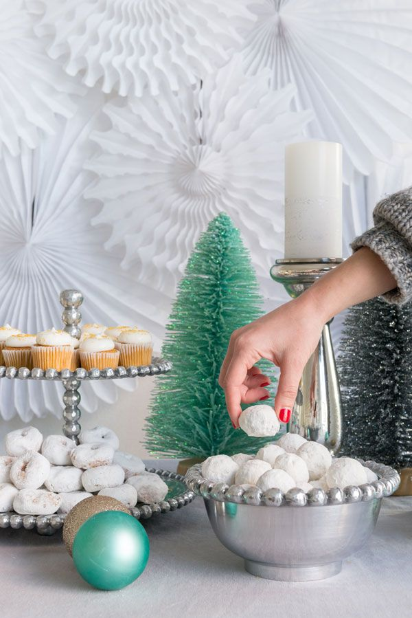 setting up a dessert table