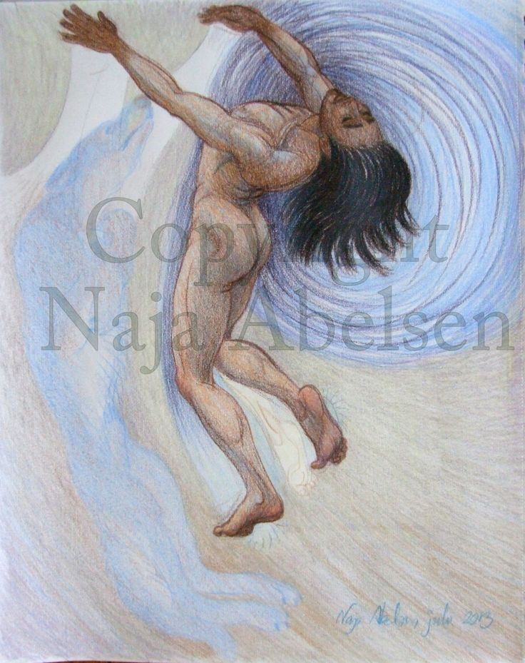 """Kraften"", meaning the force. An greenlandic/inuit angakoq (shaman) making a soul travel, calling his spirit helpers, here a dog. Colour pencil by Naja Abelsen. Available as A3-photoprint 400 DKK / 54 Euro."