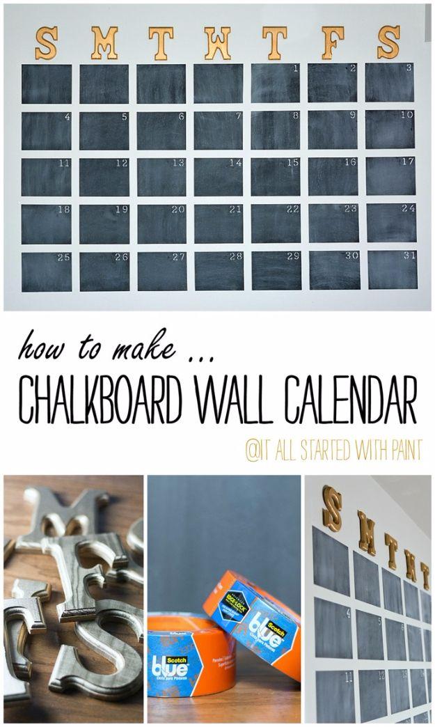 DIY Teen Room Decor Ideas for Girls | Chalkboard Wall Calendar DIY | Cool Bedroom Decor, Wall Art
