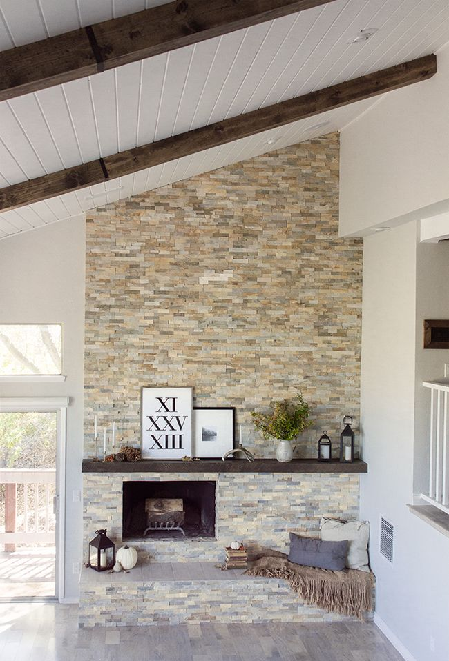 Stacked stone fireplace makeover The evolution of our living room fireplace  {+ more fall decorating - 17 Best Images About Fireplace Makeovers On Pinterest Mantels
